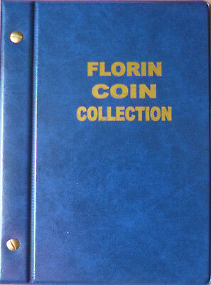 VST AUSTRALIAN 2/- COIN ALBUM FLORIN 1910 to 1963 with MINTAGES - BLUE Colour