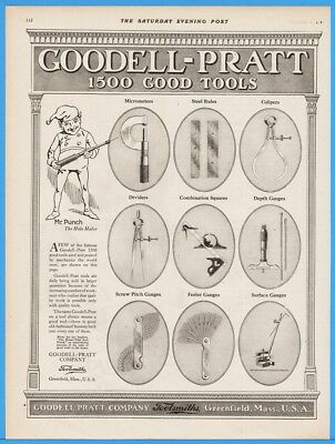 1918 Goodell Pratt Greenfield MA Mics Steel Rule Caliper Square Gauges Tool Ad