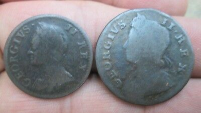 Great Britain George II 1754 Farthing & 1730 Half Penny No Reserve
