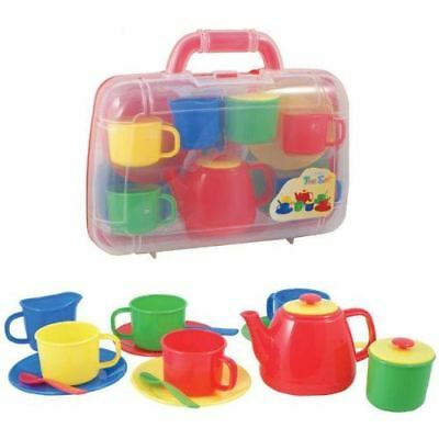 Tea Set Carry Case Play Set Childrens Roleplay Toy Plastic Primary Teaset