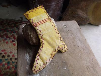 Sweet Primitive Antique Hand Made Boot Shape Pin Cushion