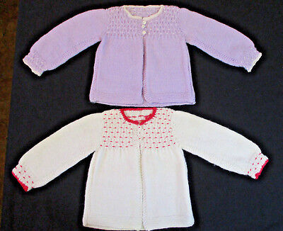2 Vintage Hand Knitted Baby or Doll Sweaters Wht w/Pink Trim & Lav w White Trim