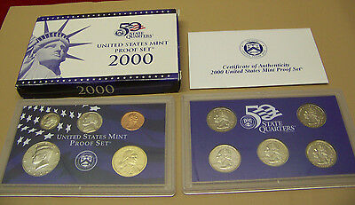 2000 US Mint  10 PC Clad Coin Proof Set