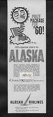 Alaska Airlines 1960 Golden Nugget Dc-6C Seattle/Fairbanks Prize Package Ad