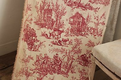 Vintage Toile de Jouy pink printed cotton fabric material c 1940's red pink