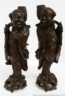 Pair Antique Japanese Meiji Taisho Chinese Qing Laughing Figural Candle Holders