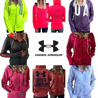 WOMENS UNDER ARMOUR Jacket UA ColdGear Logo Full Zip Hoodie S M L XL Pink Black