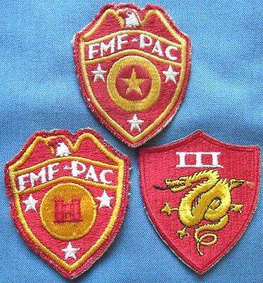 Lot of 3 original WWII US Marine Corps shoulder patches (1)