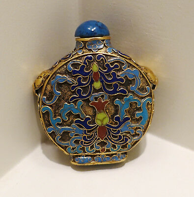 Antique Qing Dynasty Chinese Asian Cloisonne Enamel Snuff Foo Dog Bottle