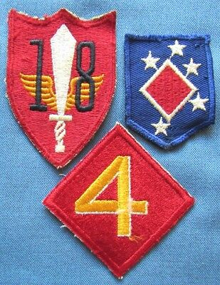 Lot of 3 original WWII US Marine Corps shoulder patches (2)