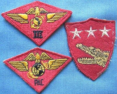 Lot of 3 original WWII US Marine Corps shoulder patches (3)