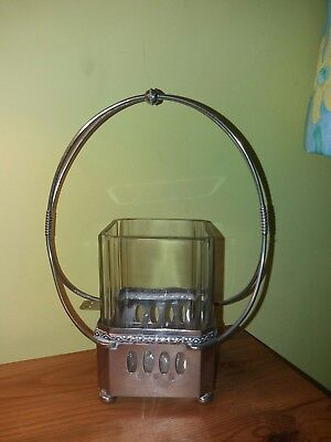 Early 20thc WMF jugensdil style plated stand and glass jar, incomplete