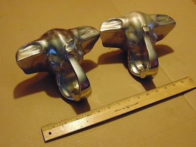 2 Vintage Large Chrome Elephant Head Solid Brass Pair Of Door Handles Pulls