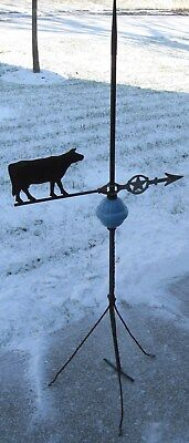 Antique Lightning Rod/weathervane W/cow On Arrow W/star Blue Globe Lincoln, Ne.