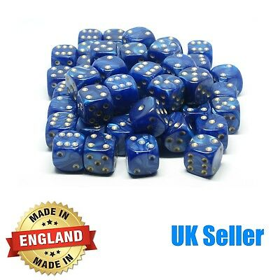 16mm Blue Pearl Six Sided Spot Dice - Choose quantity - D6 Game Dice - Wargaming