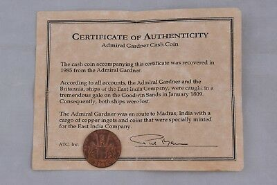 1808 Admiral Gardner East India Company Copper X Cash Treasure Shipwreck Coin