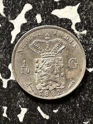 1882 Netherlands East Indies 1/10 Gulden Lot#X2957 Silver!