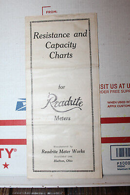 Vintage Readrite Resistance and Capacity Charts Meters Rare