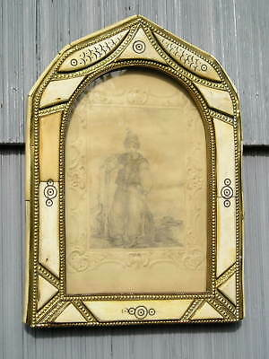 Stunning Antique Unusual Arched Brass and Carved Fish Bone Picture Frame and Art