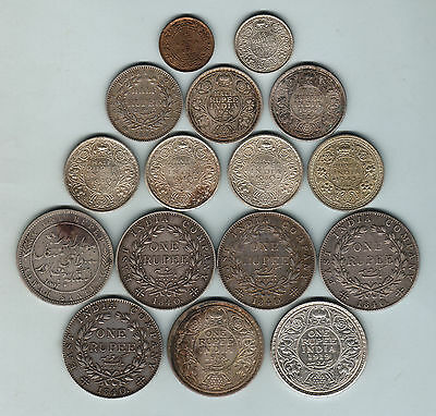 India. Assortment - 1/2th Anna to 1 Rupee.. 1835 -1945 x 16 Coins.. F-aUNC