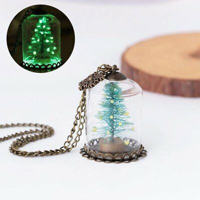 Magic Luminous Glow In Dark Christmas Tree Glass Bottle Charm Necklace Jewelry