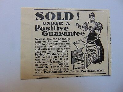 1898-TERRIFF'S PERFECT WASHER under positive Guarantee -small print ad-A333