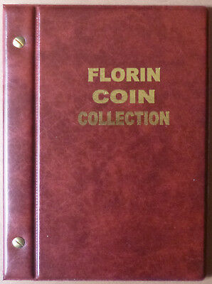 VST AUSTRALIAN 2/- COIN ALBUM FLORIN 1910 to 1963 with MINTAGES - RED Colour