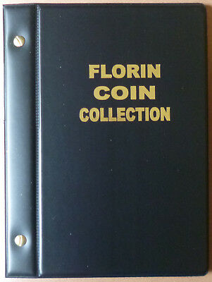VST AUSTRALIAN 2/- COIN ALBUM FLORIN 1910 to 1963 with MINTAGES - BLACK Colour