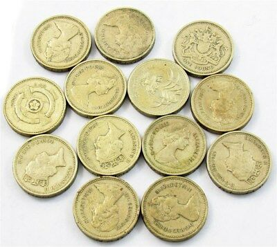 13 Great Britain Round Pound Coin -Most 1983 Average Circulated- 1990 Proof