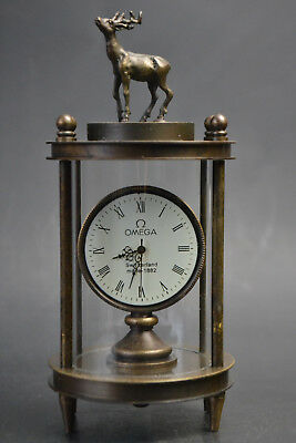 Collectible Old Made Hand-mechanical Exquisite deer Beauty Clock Noble China