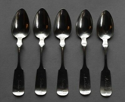 "5 Early 1845 Wood & Hughes TIPPED Coin Silver 5 3/4"" Tea Spoons - 101 grams"