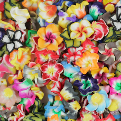 Wholesale! 50pcs 15mm Mixed Polymer Fimo Clay Flower Spacer Loose Beads Hot Sale
