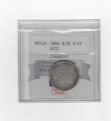 **1894 NT2**,Coin Mart Graded, Newfoundland 20 Cent, **F-15**