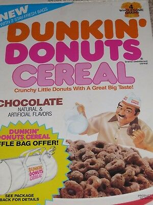 1988 Ralston's DUNKIN' DONUTS CHOCOLATE Cereal Box Make The Donuts Guy empty