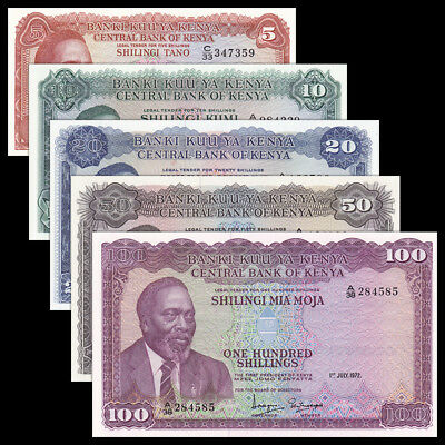 Kenya set 5 PCS, 5 10 20 50 100 Shillings, P-7 8 9 10 15, UNC
