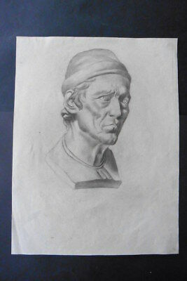 FRENCH SCHOOL 19thC - FINE STUDY BUST MAN - CHARCOAL DRAWING