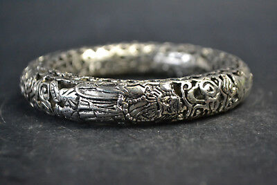Vintage Collectible Old Tibet Silver masterwork Journey to the West bracelet