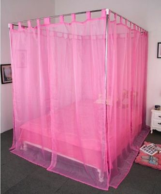 Double Pink Yarn Mosquito Net Bedding Four-Post Bed Canopy Curtain Netting