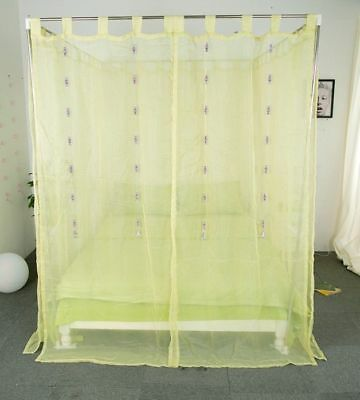 Single Green Yarn Mosquito Net Bedding Four-Post Bed Canopy Curtain Netting