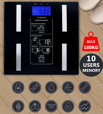 Digital Body Fat Scale Bathroom Scales Gym Weight Glass LCD Display Electronic A
