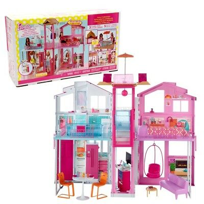 Barbie - Three-Storey Townhouse Playset with Furniture & Accessories
