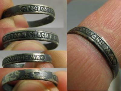 Prayer ! Old Vintage Russian Orthodox Church Sterling Silver Ring #6843