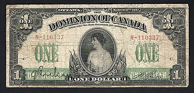 CANADA P-32b. 1917 1 Dollar..  With ABN Co Imprint..  VG-F