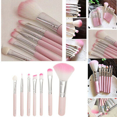 7pcs Pink Makeup Cosmetic Brushes Set Powder Foundation Eyeshadow Lip Brush Tool