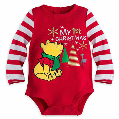 Disney Authentic Winnie The Pooh Baby 1st Christmas Bodysuit 18 24 Months New