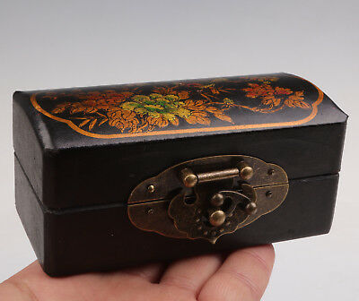 Black Leather Jewelry Box Painting Flowers Gift Receive Collection