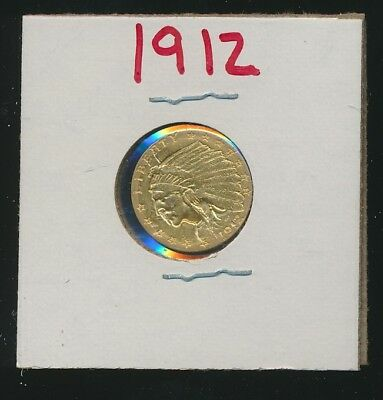 Indian Gold $2.50 Piece - 1912 - Genuine For Jewelry !