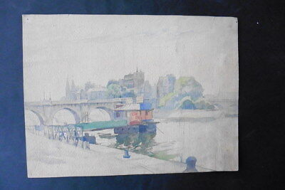 FRENCH SCHOOL 19thC - CITYSCAPE OF PARIS - PONT NEUF - WATERCOLOR