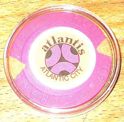 Atlantis Hotel CASINO ROULETTE CHIP - 1984 - ATLANTIC CITY, New Jersey -Purple-C
