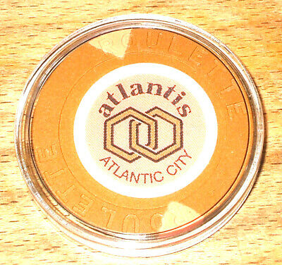 Atlantis CASINO ROULETTE CHIP - 1984 - ATLANTIC CITY, New Jersey - Tan - A